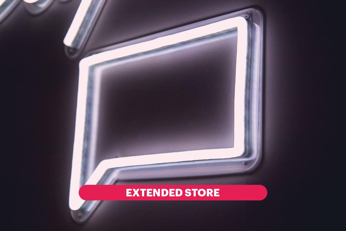 """Neon a forma di fumetto con scritta """"Extended Store"""""""
